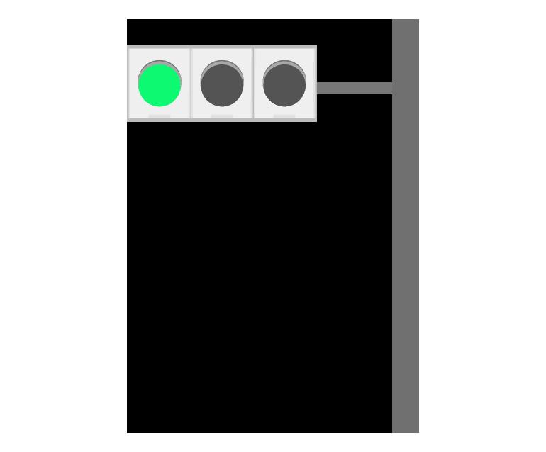 道路にある信号機のイラスト(車)