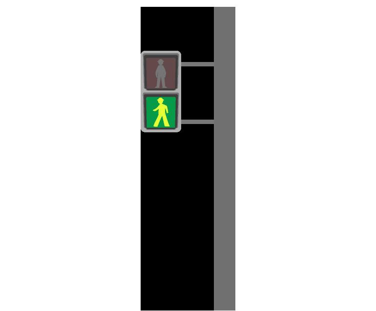 道路にある歩行者の信号機のイラスト