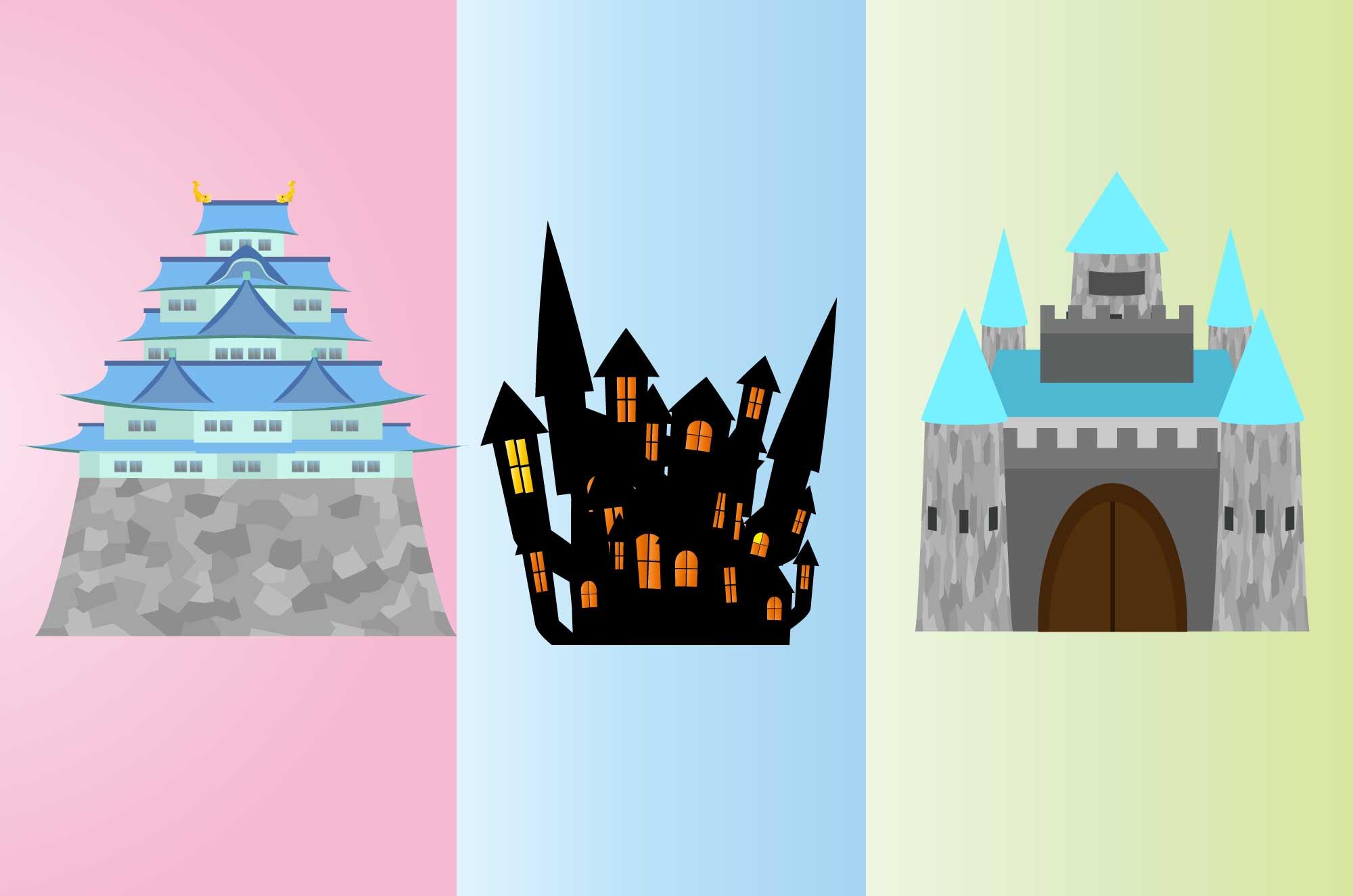 城のイラスト - 洋風と和風の古い建物フリー素材