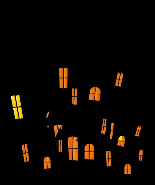 怖いお城のシルエットイラスト