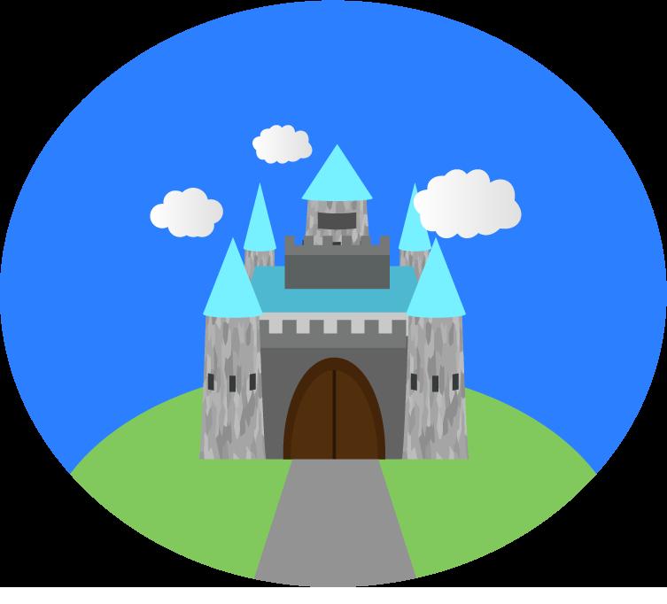 背景付のお城のアイコン風イラスト