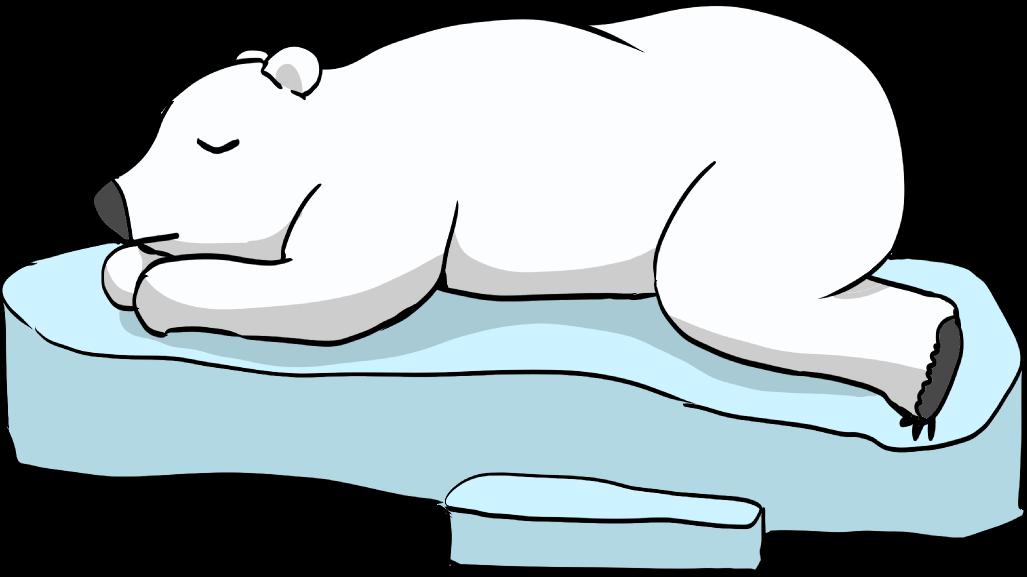 流氷の上で眠る可愛いしろくまのイラスト