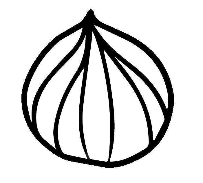 玉ねぎの白黒イラスト