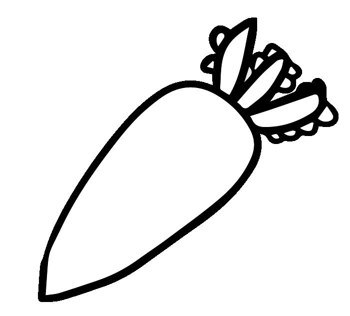 大根の白黒イラスト