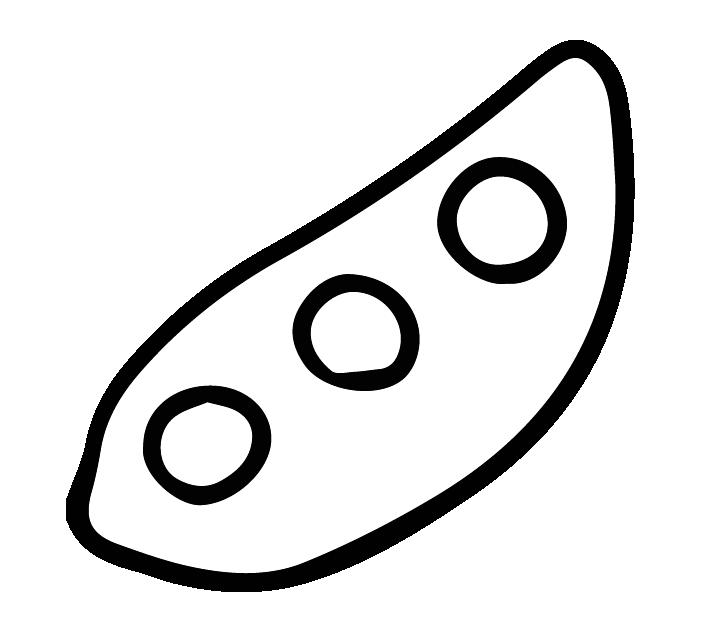 枝豆の白黒イラスト