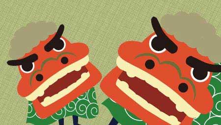 獅子舞のイラスト - お正月イメージに日本の伝統無料素材