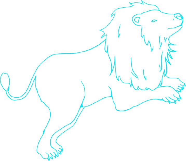かっこいい獅子(ライオン)の線画イラスト