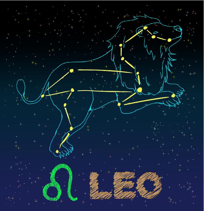 獅子座の星座カードのイラスト