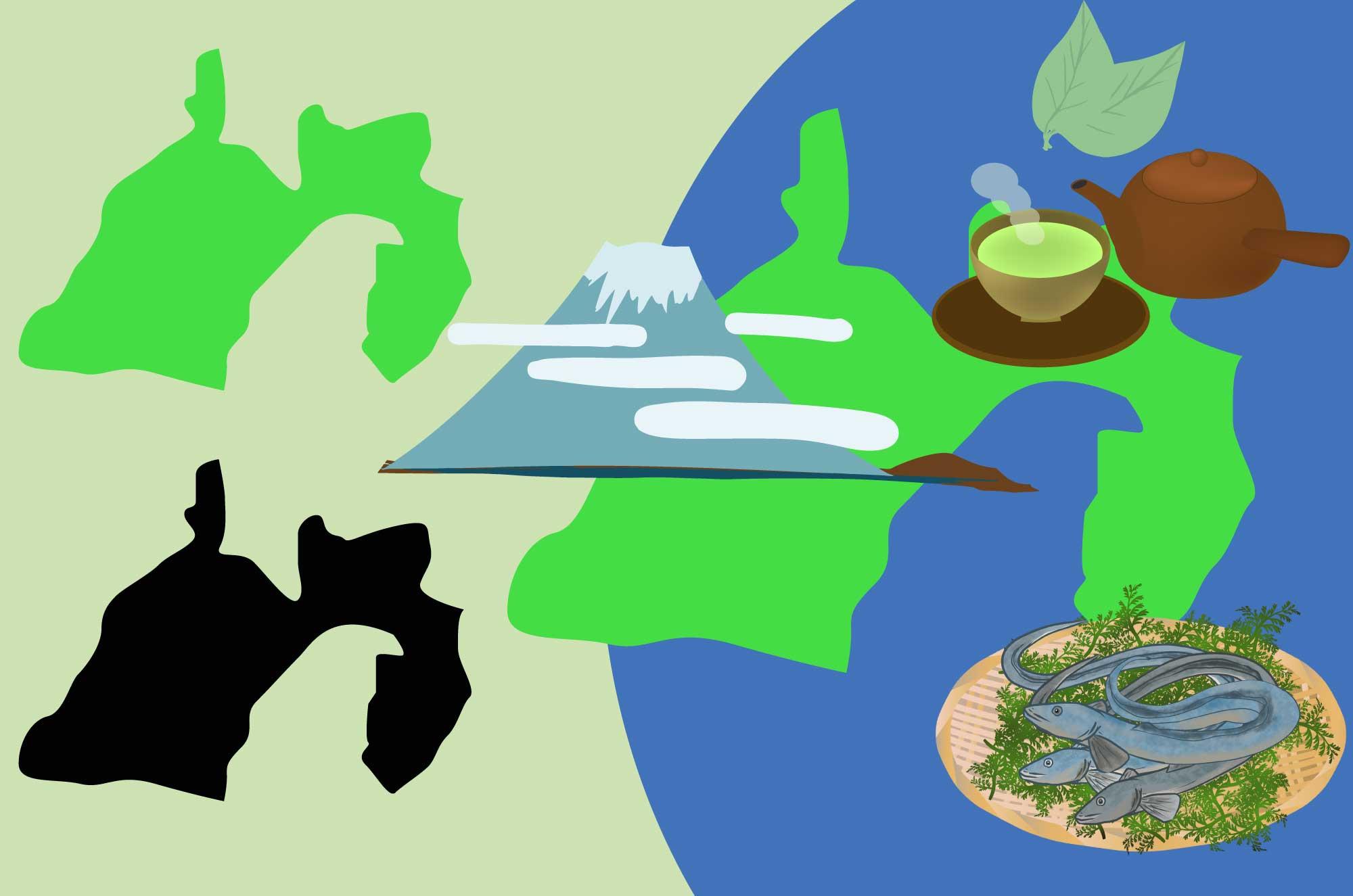 静岡の無料イラスト - お茶・うなぎ名産と地図の素材