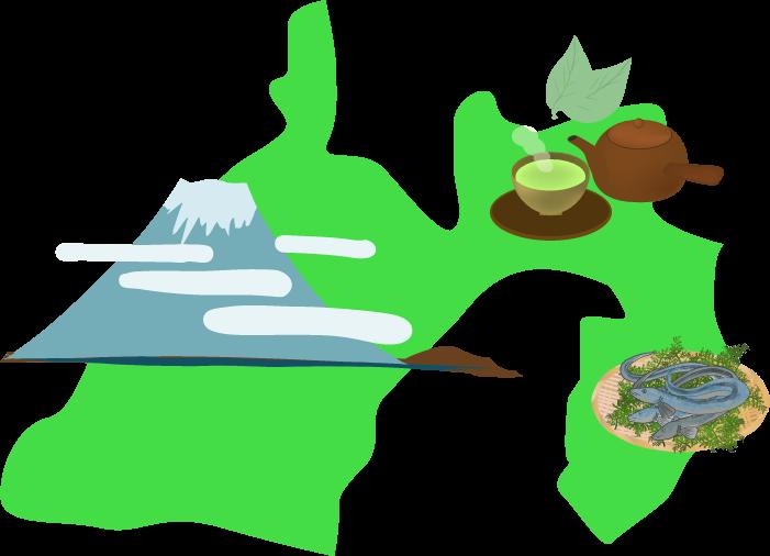 名産のお茶・うなぎ・富士山がある静岡のイラスト