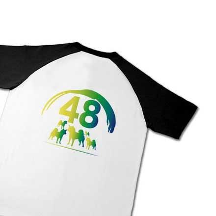ラグラン半袖バックプリント柴犬デザインTシャツ