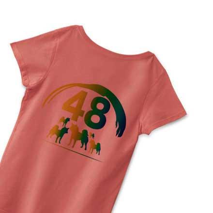 サーモンカラーの柴犬48Tシャツ
