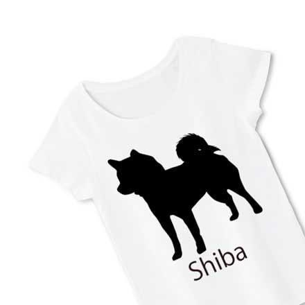 レディースホワイト柴犬Tシャツ。