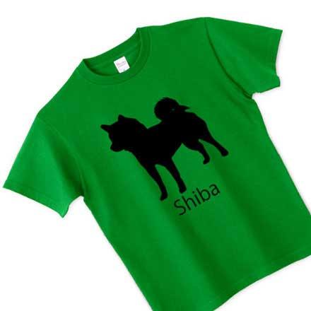 グリーンボディ柴犬シルエットTシャツ