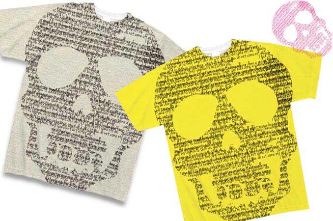 アートなタイポグラフィーが集まって出来たドクロのTシャツ