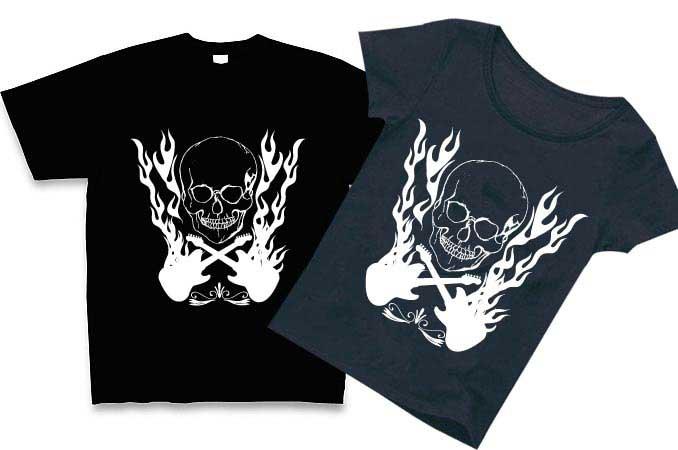 手描きのスカルのパンクTシャツ