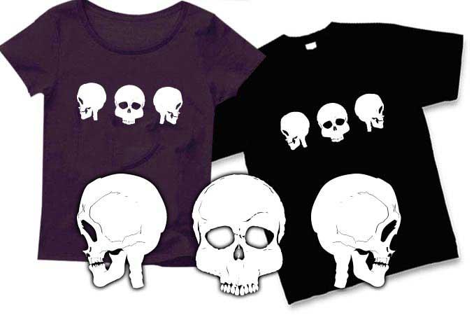 3連ドクロTシャツ