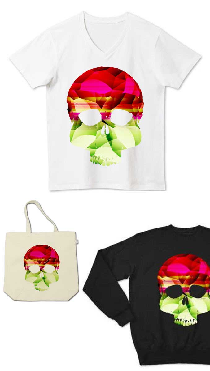 エメガーネット空想の宝石スカルTシャツ