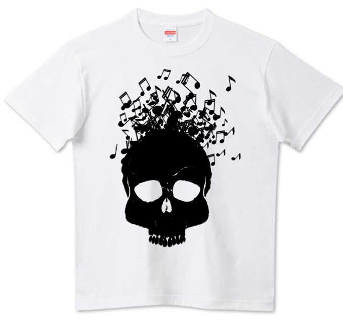 音楽脳スカルTシャツ