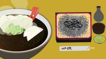 そばイラスト - トッピングと美味しそうな麺類の無料素材