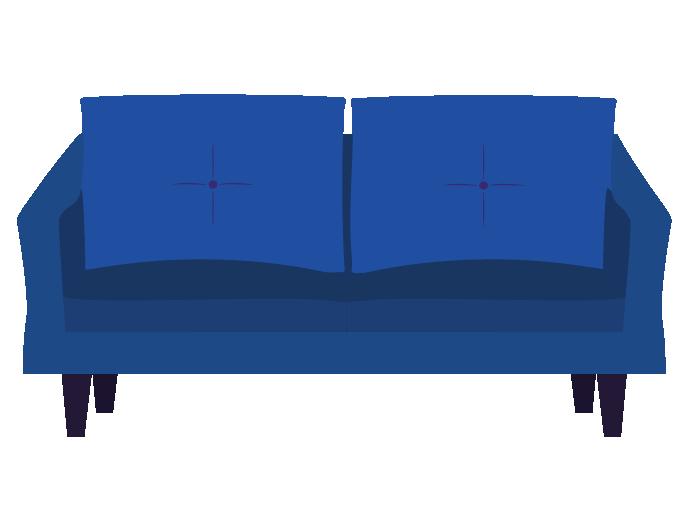 青い可愛いソファーのイラスト