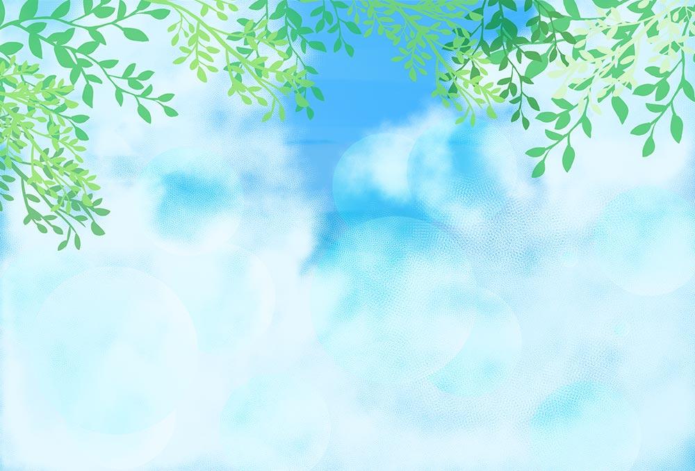 葉っぱと空の背景のイラスト