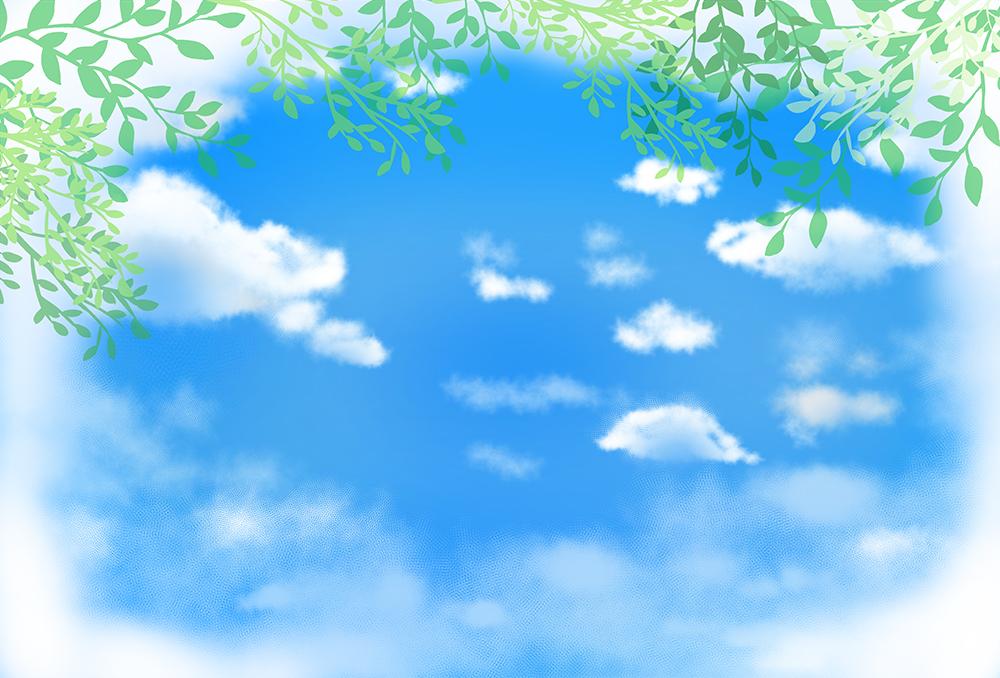 葉っぱと空の背景イラスト