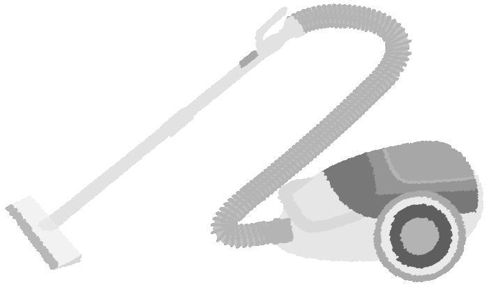 掃除機の白黒イラスト