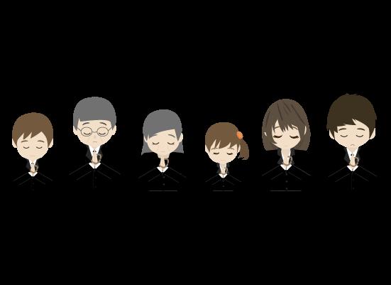 合唱する遺族(上半身)のイラスト