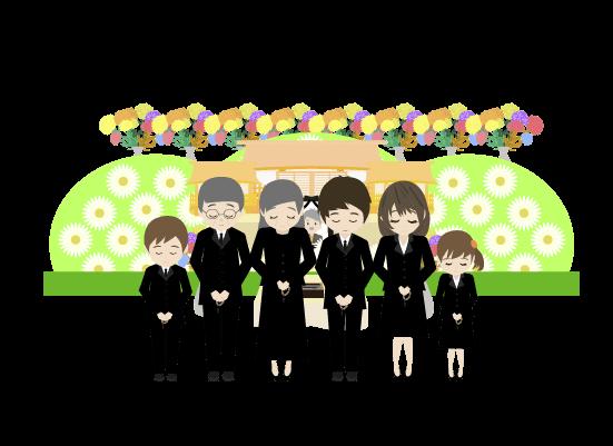 祭壇の前で挨拶する遺族のイラスト