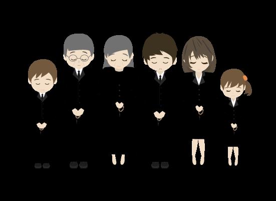 礼をする遺族のイラスト