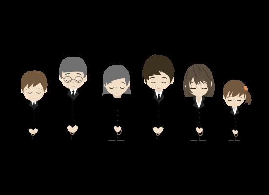 礼をする遺族(上半身)のイラスト