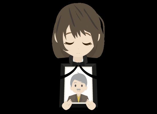 遺影をもつ女(上半身)のイラスト