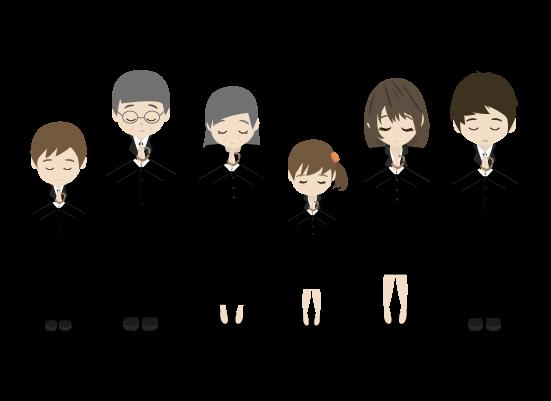 合唱する遺族のイラスト