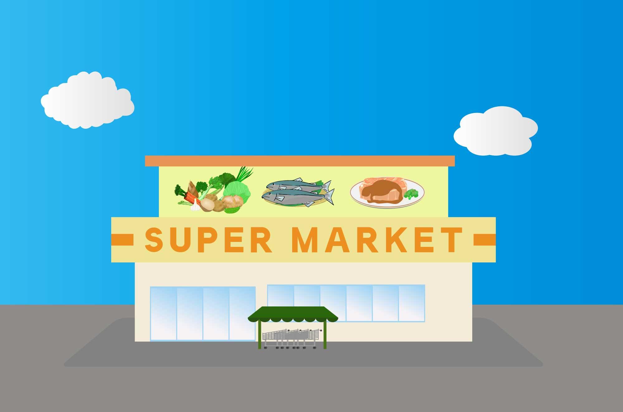 スーパーの無料イラスト - 食品販売する建物素材