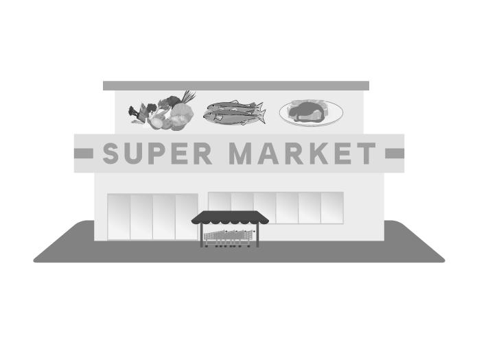 スーパーのイラスト(白黒)