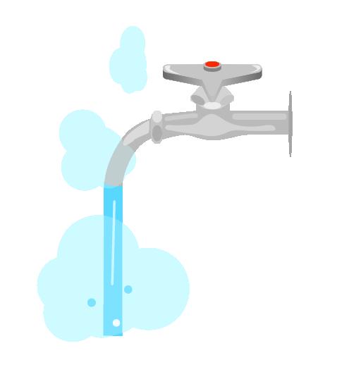 お湯がでる水道のイラスト