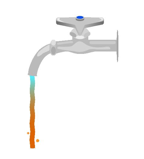 錆水が出る水道のイラスト