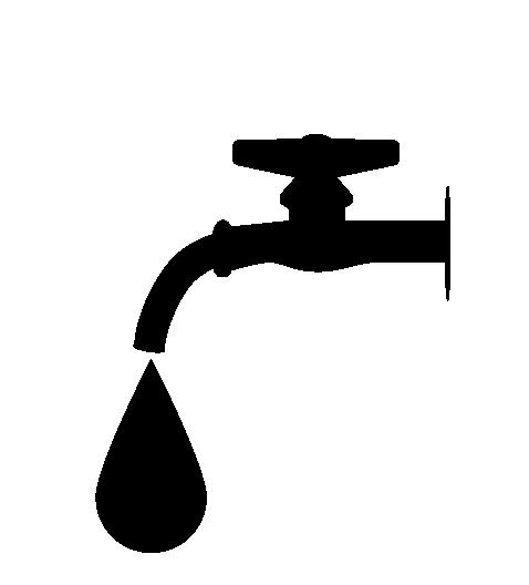 水道と水滴シルエットのイラスト