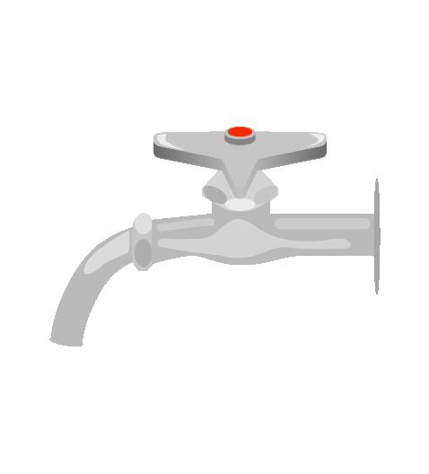 お湯の水道のイラスト