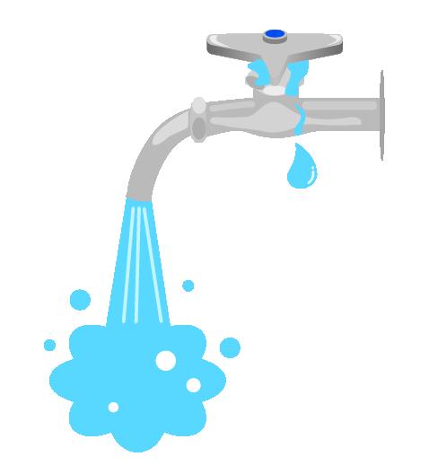 水漏れ水道(パッキン)のイラスト