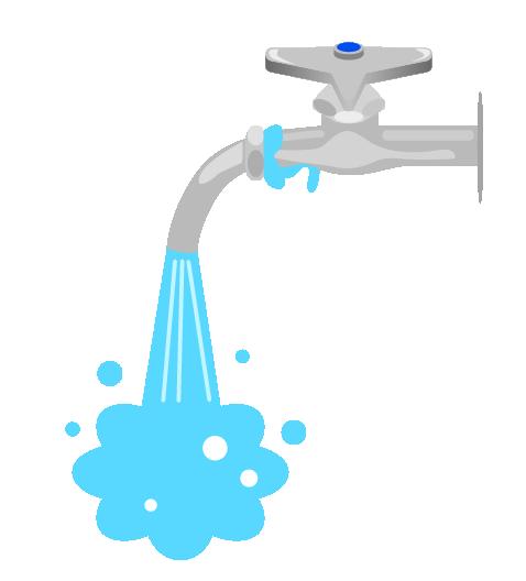 水道の水漏れのイラスト