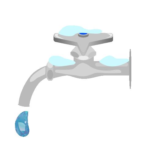 凍結した水道のイラスト