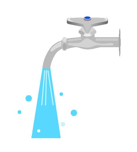 水が強く出る水道のイラスト
