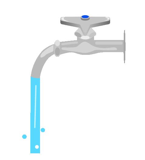 水が出る水道のイラスト