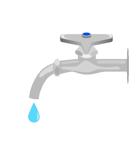 水滴が出る水道のイラスト