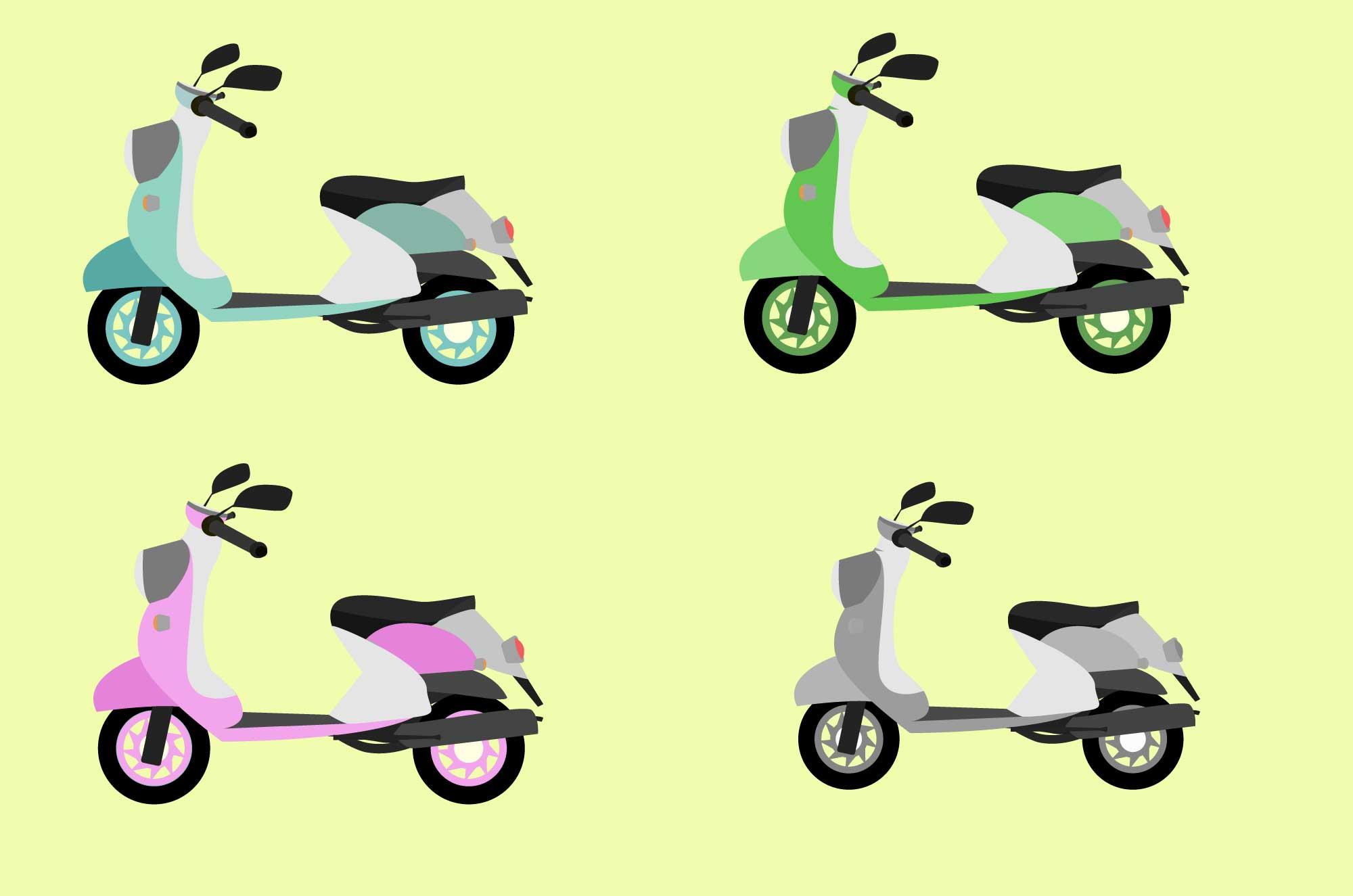 可愛いスクーターの無料イラスト - 街の乗り物素材