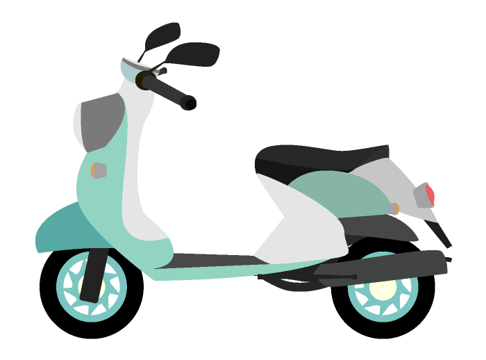 レトロなエメラルドグリーンのスクーターのイラスト