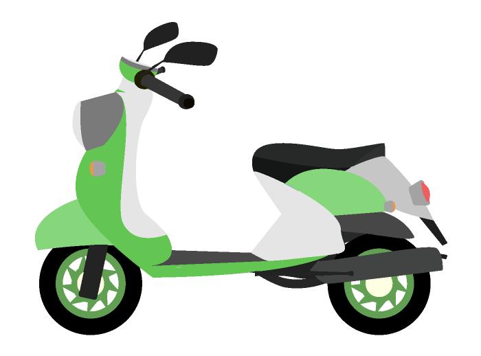 おしゃれな緑のスクーターのイラスト