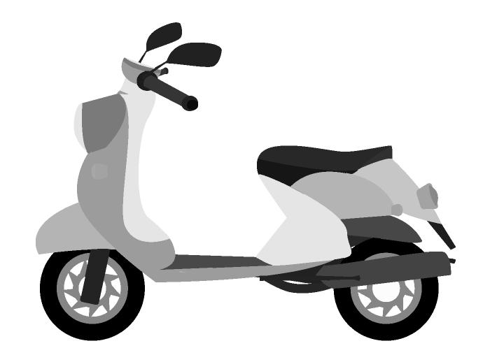白黒のスクーターのイラスト